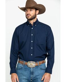 Ariat Men's Navy Wrinkle Free Button Long Sleeve Western Shirt, Navy, hi-res