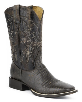 Roper Lizard Print Cowboy Boots - Square Toe, Dark Brown, hi-res