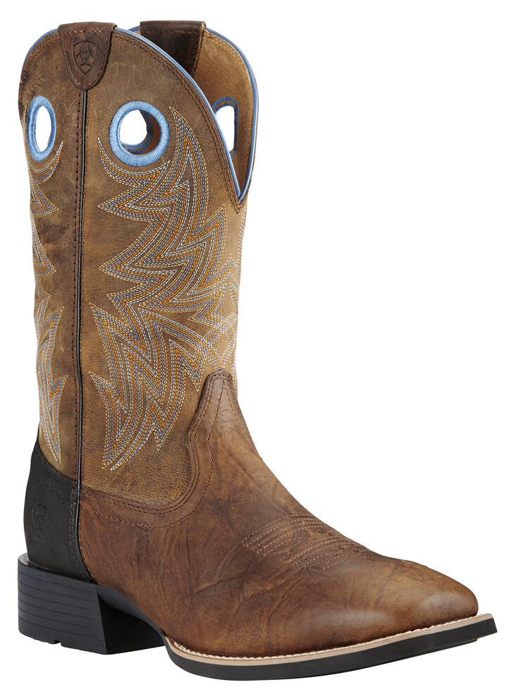 Ariat Men's Bar Top Brown Heritage Cowhorse Western Boots - Square Toe , Brown, hi-res