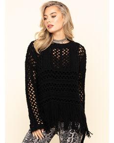 Wrangler Women's Black Open Weave Fringe Sweater , Black, hi-res