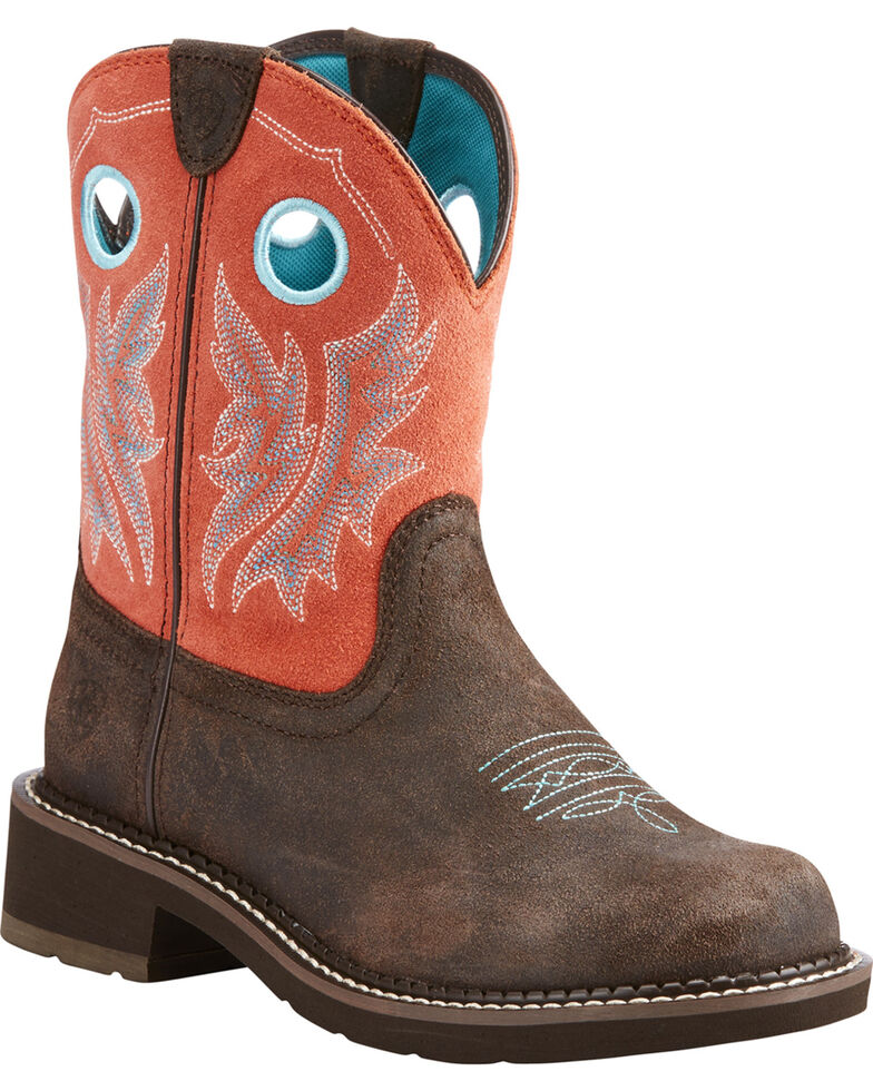 af137ffc99518 Zoomed Image Ariat Women's Fatbaby Heritage Chocolate Coral Cowgirl Boots -  Round Toe, Chocolate, hi-