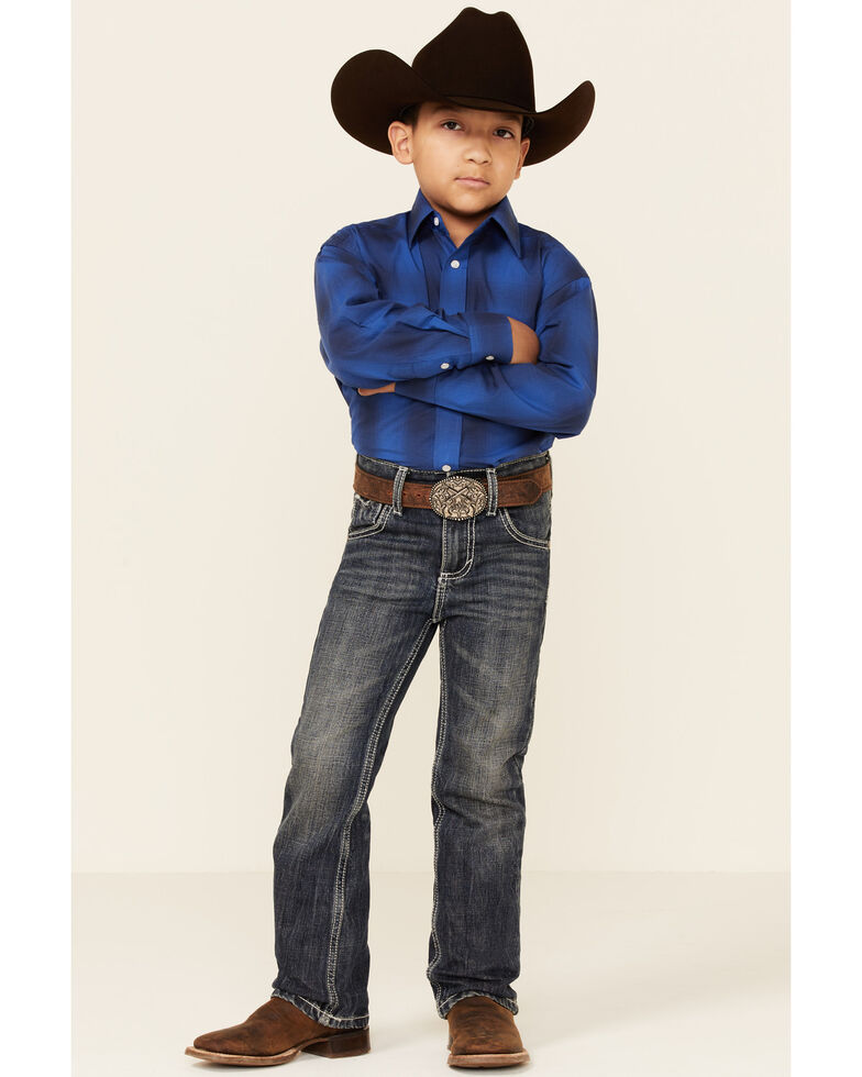 Rough Stock By Panhandle Boys' Blue Ombre Plaid Long Sleeve Snap Western Shirt , Blue, hi-res