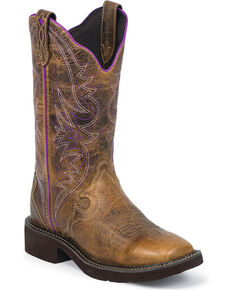 Justin Women's Raya Distressed Tan Cowgirl Boots - Square Toe, Brown, hi-res