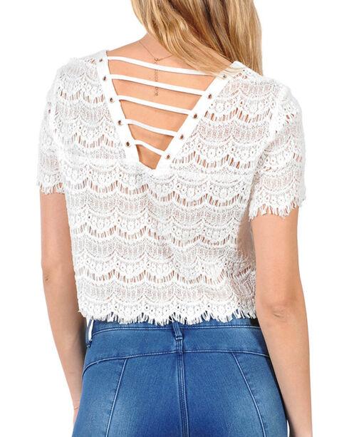 HYFVE Women's Allover Lace Crop Top, White, hi-res