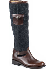 Stetson Women's Adriana Wool Riding Boots - Round Toe, Brown, hi-res