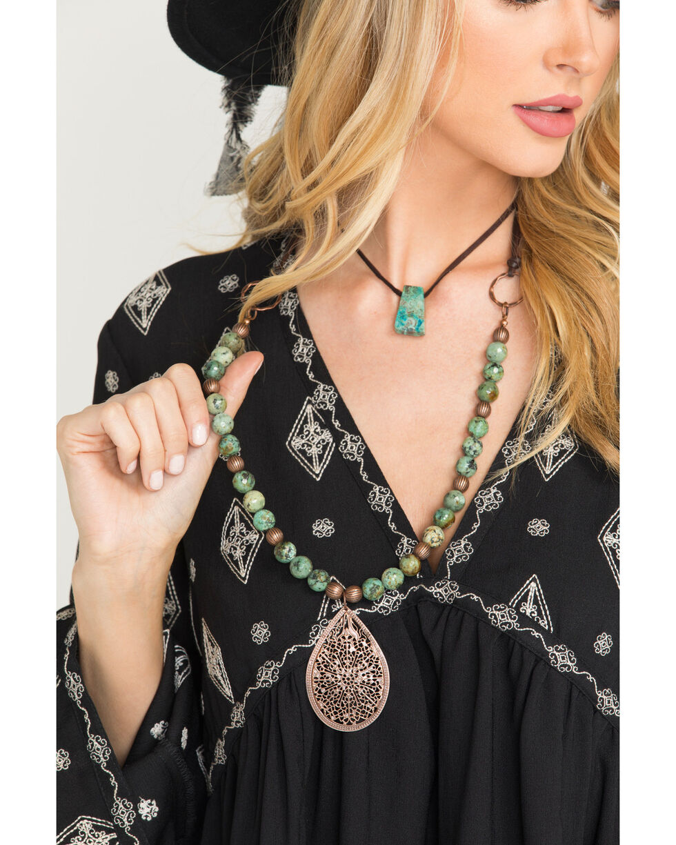 Jewelry Junkie Women's African Turquoise Necklace , Green, hi-res