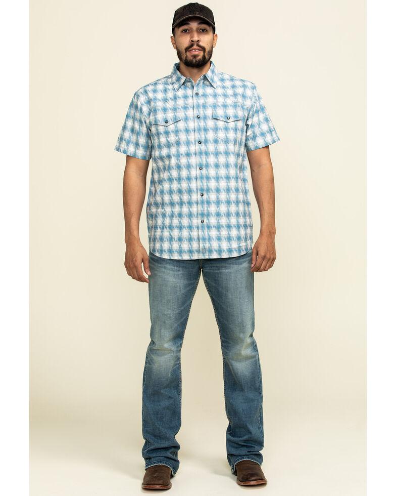Moonshine Spirit Men's Thunderstruck Plaid Short Sleeve Western Shirt , Blue, hi-res