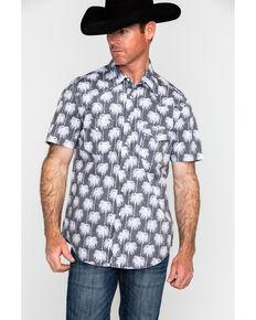 Rock & Roll Cowboy Men's Crinkle Washed Palm Print Short Sleeve Western Shirt , Grey, hi-res
