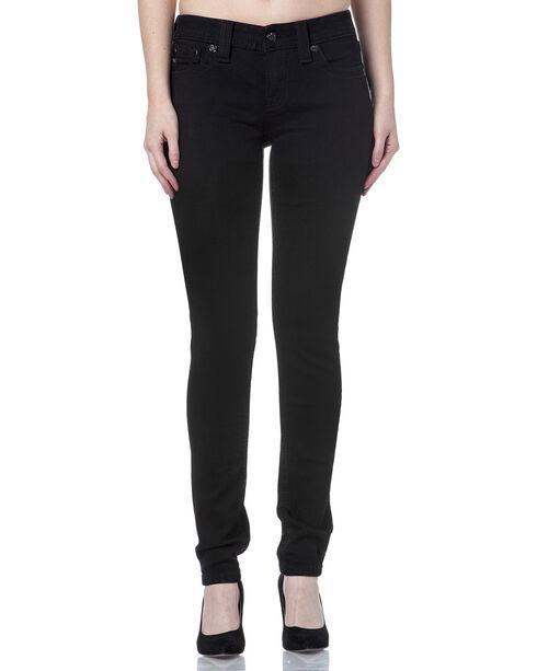 Miss Me Women's Black Cowhide Trim Mid Rise Jeans - Skinny, Black, hi-res