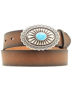 Ariat Faux Turquoise Oval Buckle Belt, Brown, hi-res