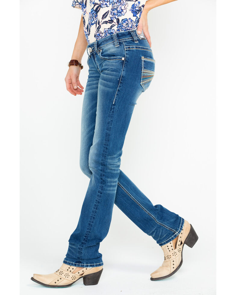 Rock & Roll Cowgirl Women's Multi Color Thread Stretch Jeans, Medium Blue, hi-res