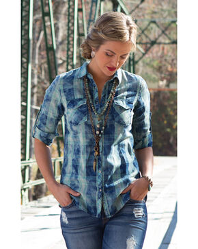 Ryan Michael Women's Indigo Boxed Plaid Shirt , Indigo, hi-res
