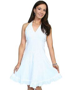 Scully Sweetheart Halter Top Dress, White, hi-res