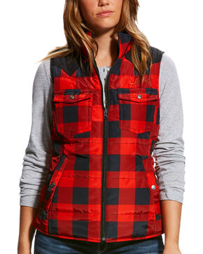 Ariat Women's Black Buffalo Plaid Country Vest , Black/red, hi-res
