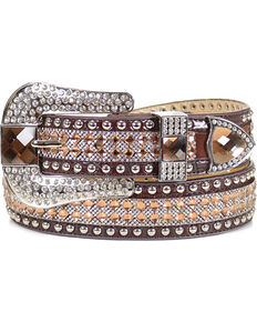Shyanne Women's Brown Rhinestone Belt, Brown, hi-res