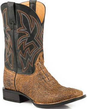 Roper Men's Brown Caiman Embossed Western Boots - Square Toe , Brown, hi-res