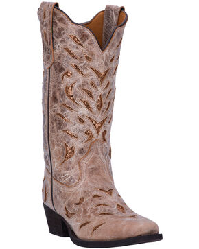Laredo Women's Tan Roxanne Distressed Leather Boots - Square Toe , Tan, hi-res