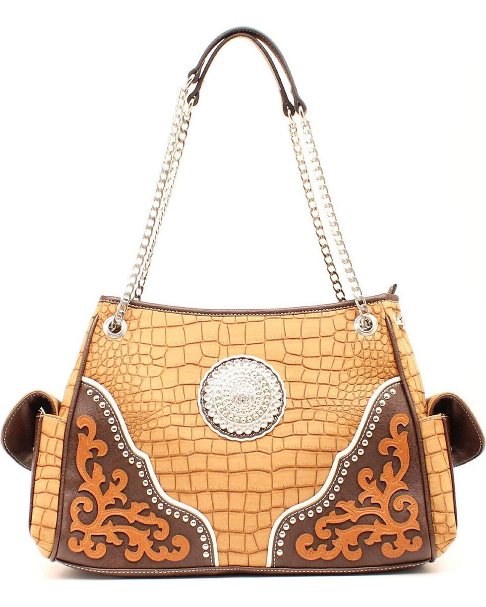 Blazin Roxx Large Concho Shoulder Bag, Tan, hi-res