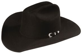 Sheplers Exclusive - Justin 4X Cody Black Fur Felt Western Hat, Black, hi-res