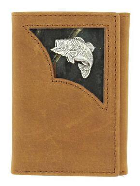 Nocona Camo Inlay w/ Bass Concho Tri-fold Wallet, Med Brown, hi-res