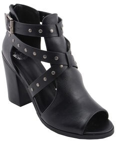 Milwaukee Performance Women's Platform Heel Studded Strap Sandals, Black, hi-res