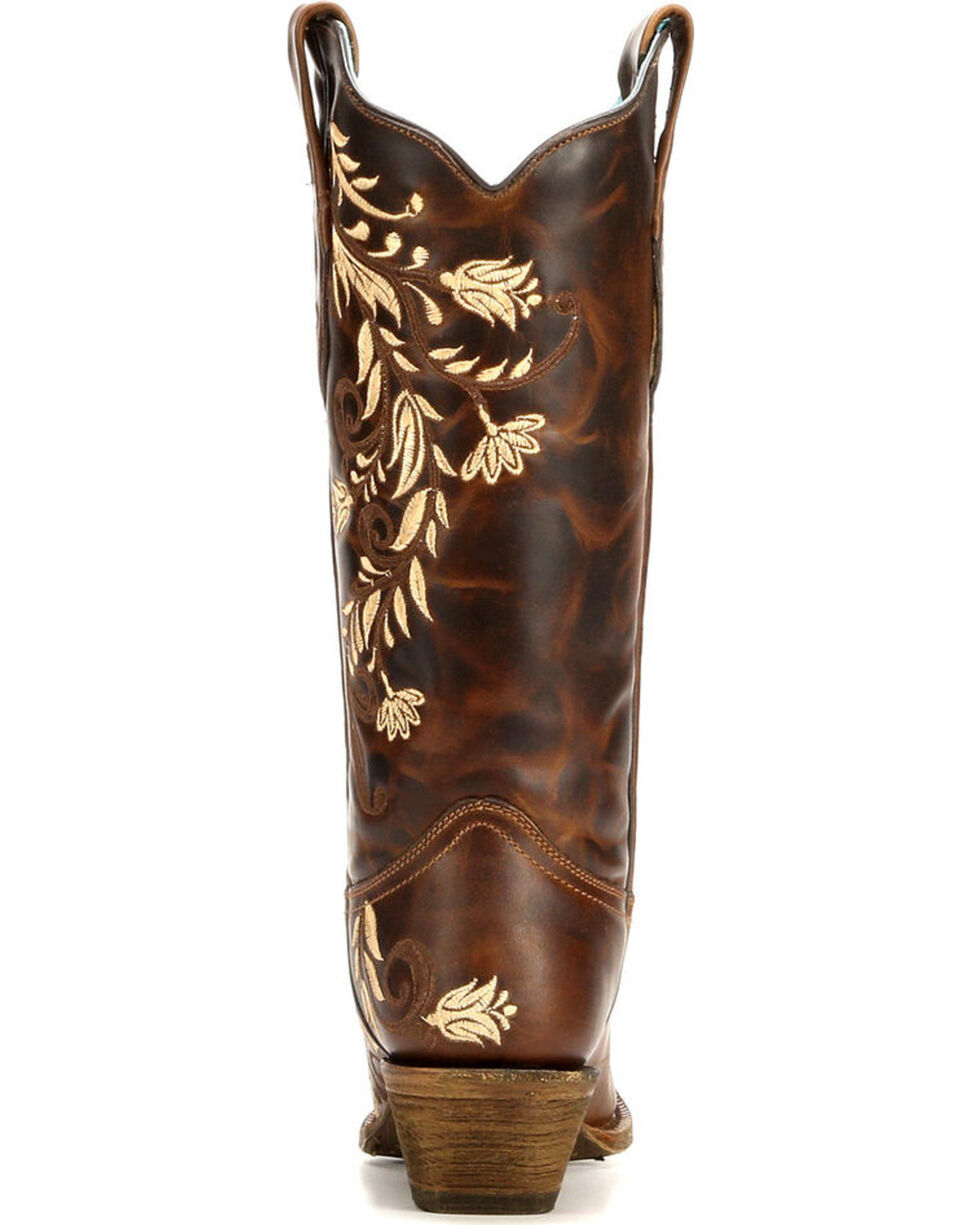 Corral Women's Floral Side Embroidery Cowgirl Boots - Snip Toe , , hi-res