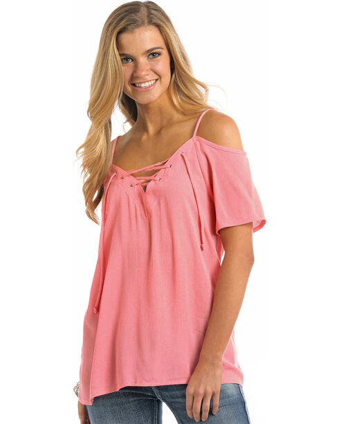 Panhandle Women's Cold Shoulder Lace Up Front Crinkle Top, Coral, hi-res