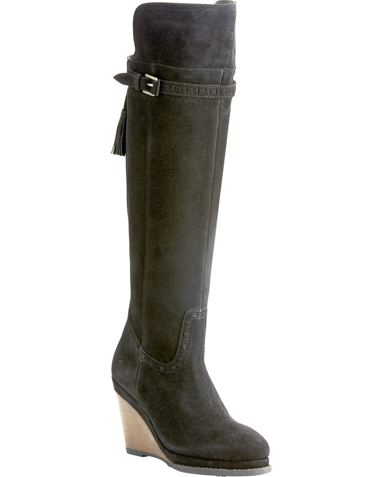 0f964addbcac Ariat Women s Knoxville Black Suede Tall Wedge Boots - Round Toe ...