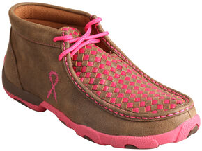"Twisted X Women's ""Tough Enough to Wear Pink"" Driving Mocs , Brown, hi-res"