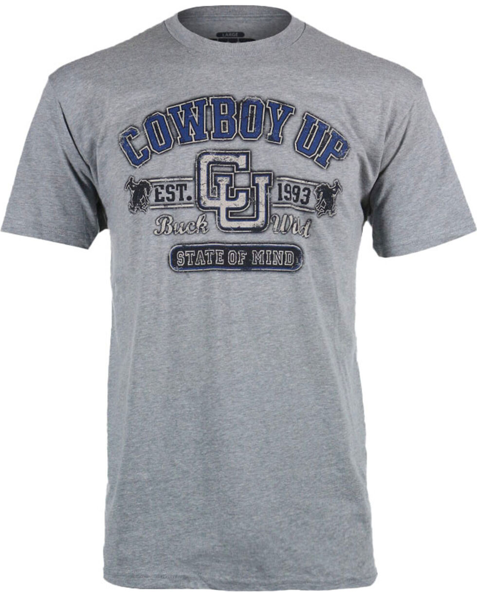 Cowboy Up Men's Logo T-Shirt, Grey, hi-res
