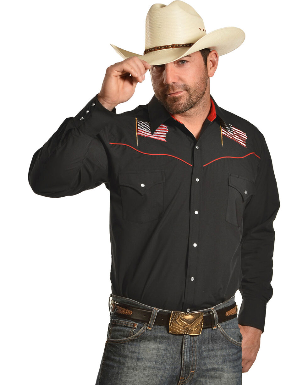 Ely Cattleman Men's Black Patriotic Embroidered Shirt , Black, hi-res