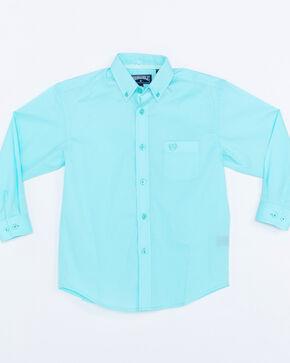 Panhandle Boys' Aqua Solid Button Down Stretch Long Sleeve Shirt , Aqua, hi-res
