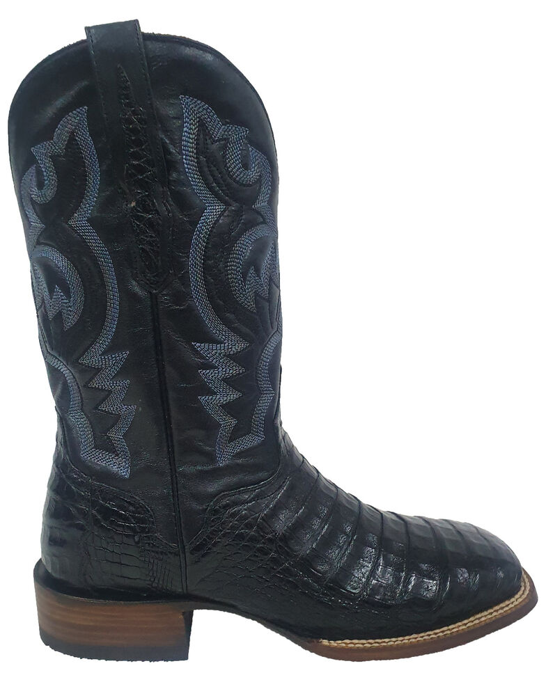 El Dorado Men's Caiman Belly Western Boots - Wide Square Toe, Black, hi-res