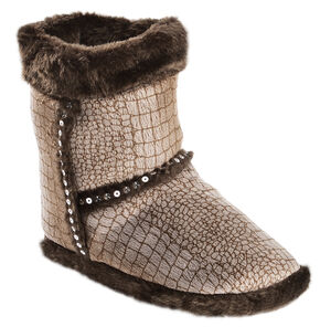 Blazin Roxx Youth Girls' Brown Croc Print Plush Bootie Slippers, Brown, hi-res