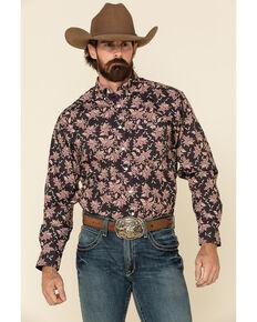 Resistol Men's Black Meadow Floral Print Long Sleeve Western Shirt , Black, hi-res