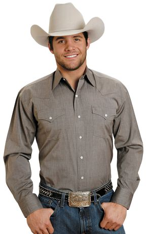 Stetson Solid Snap Oxford Shirt, Brown, hi-res