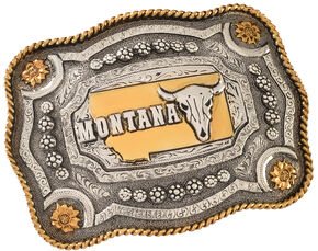 Cody James Dual Tone Montana Buckle, Multi, hi-res