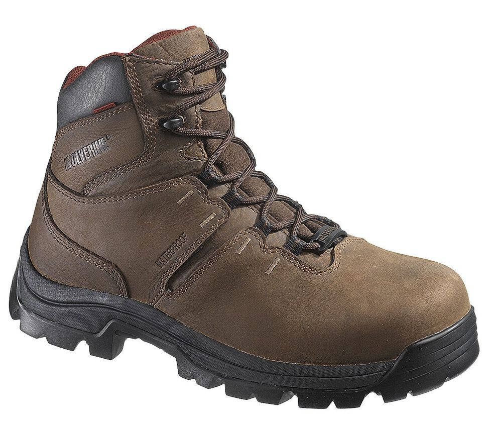 "Wolverine Bonaventure 6"" Waterproof Work Boots - Round Toe, Brown, hi-res"