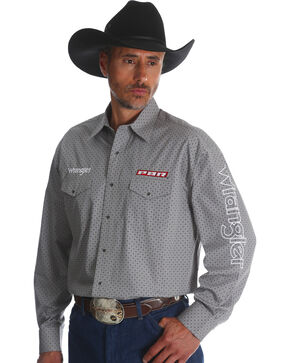 Wrangler Men's Grey Logo Long Sleeve Shirt , Grey, hi-res