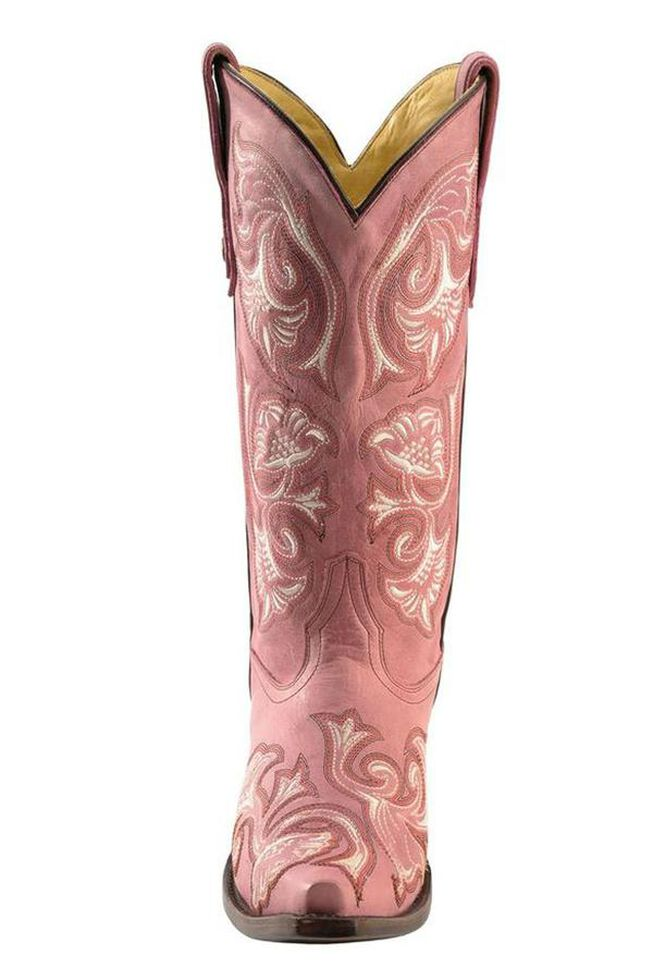 Corral Floral Embroidered Pink Cowgirl Boots - Snip Toe, Pink, hi-res