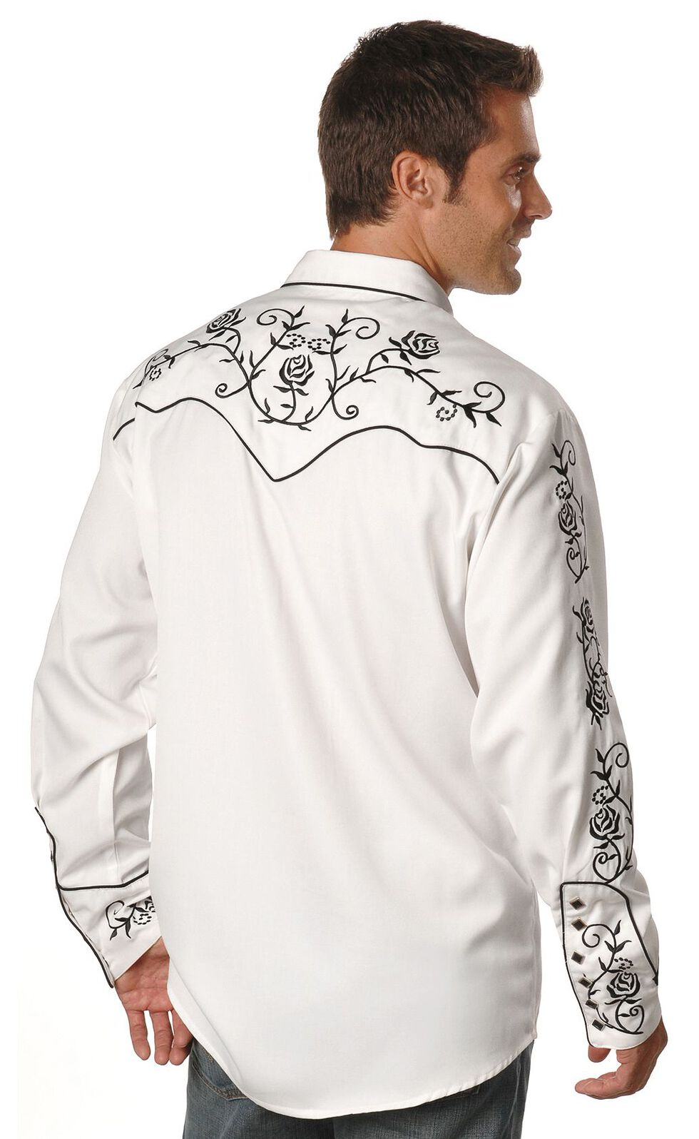 Scully Floral Embroidered Vintage Western Shirt, White, hi-res