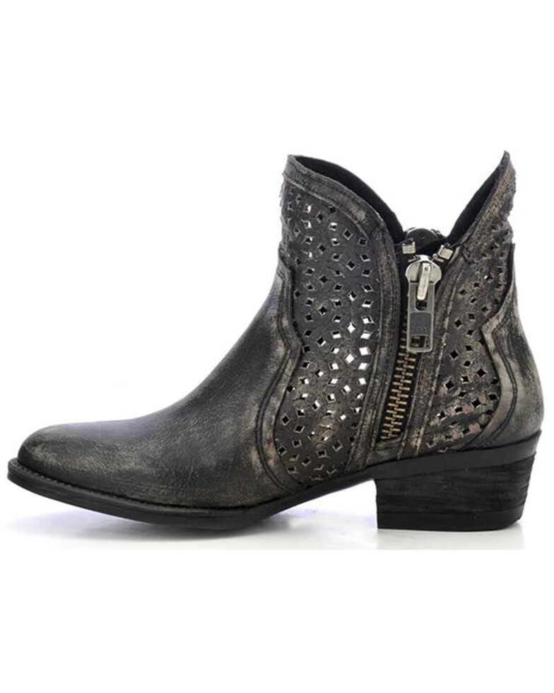 Circle G Cut-Out Booties - Round Toe, Black, hi-res