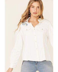 Nostalgia Women's White Floral Embroidered Long Sleeve Button-Front Western Shirt , White, hi-res