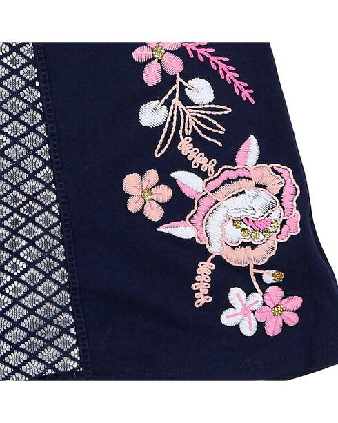 Tempted Girls' Cold Shoulder Floral Glitter Short Sleeve Shirt, Navy, hi-res