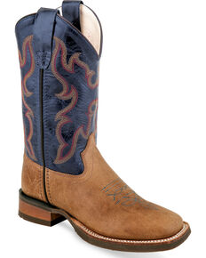 Old West Boys' Tan/Blue Six Row Stitch Cowboy Boots - Square Toe, Tan, hi-res
