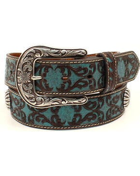 Ariat Women's Scroll Pattern Starburst Concho Belt, Blue, hi-res