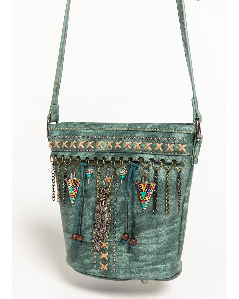 Shyanne Women's Arrowhead Charm Crossbody Bucket Bag, Turquoise, hi-res