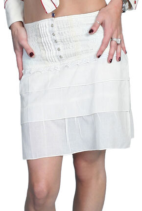 Scully Tiered White Cotton Skirt, Ivory, hi-res