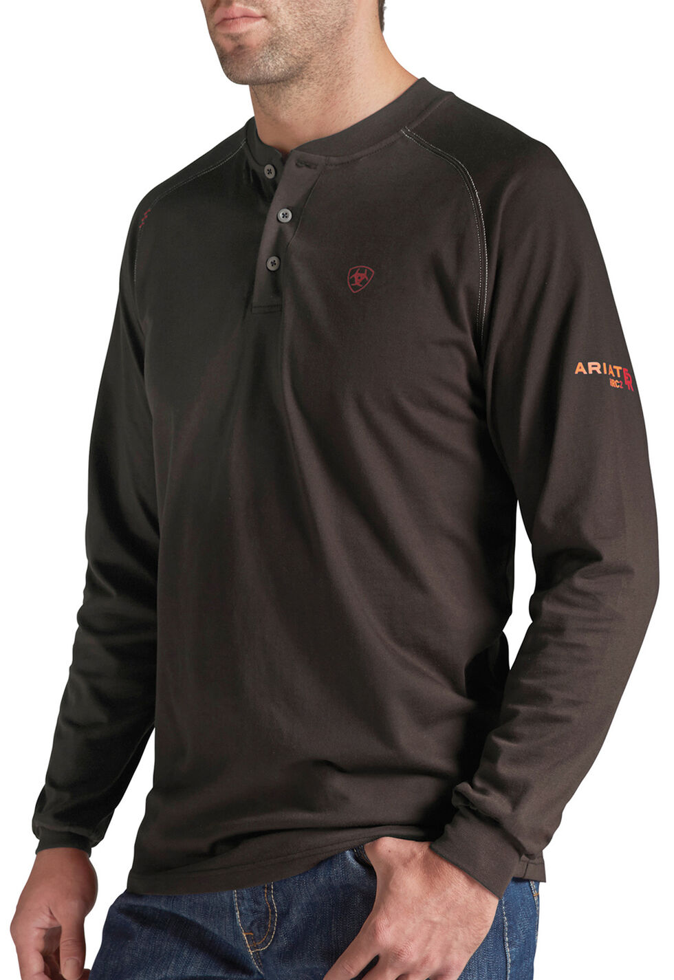 Ariat Men's Flame-Resistant Coffee Bean Henley Work Shirt, Coffee, hi-res