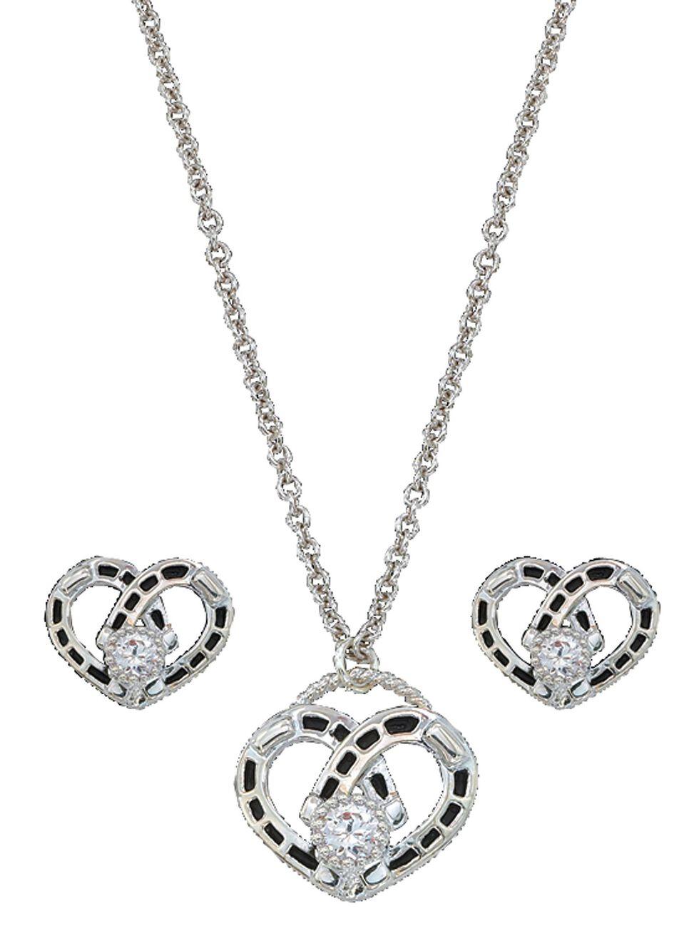 Montana Silversmiths Horseshoe Heart Necklace & Earrings Set, Silver, hi-res